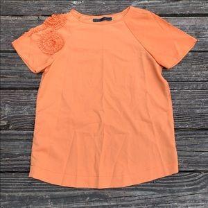 Zara Basic   Orange blouse with floral appliqué M